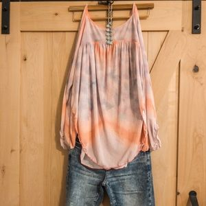 Free people slit arm long sleeve tie dye tank